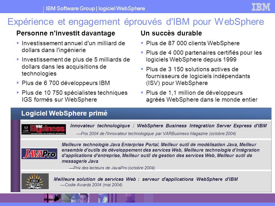 Expérience et engagement éprouvés d IBM pour WebSphere