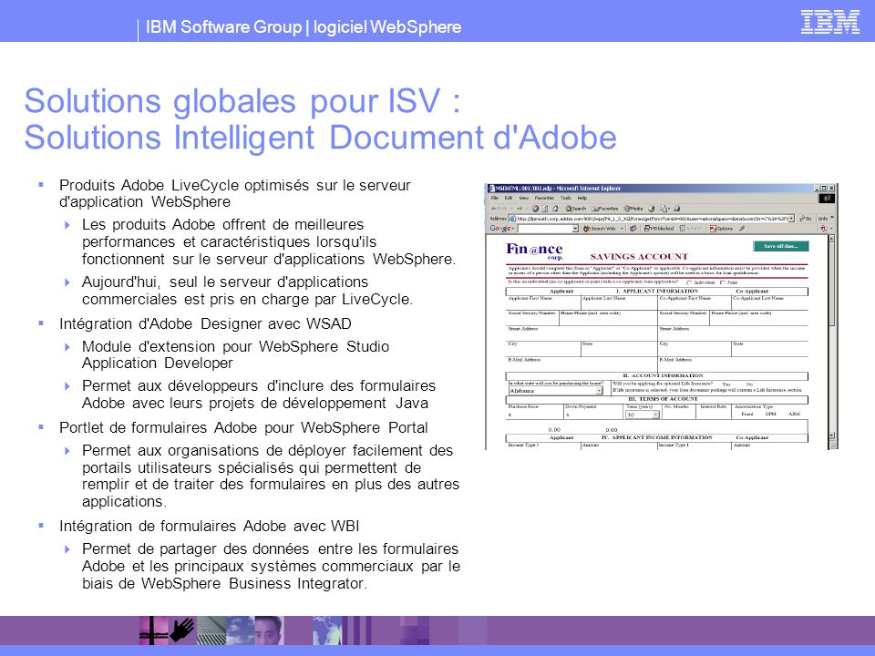 Solutions globales pour ISV : Solutions Intelligent Document d Adobe