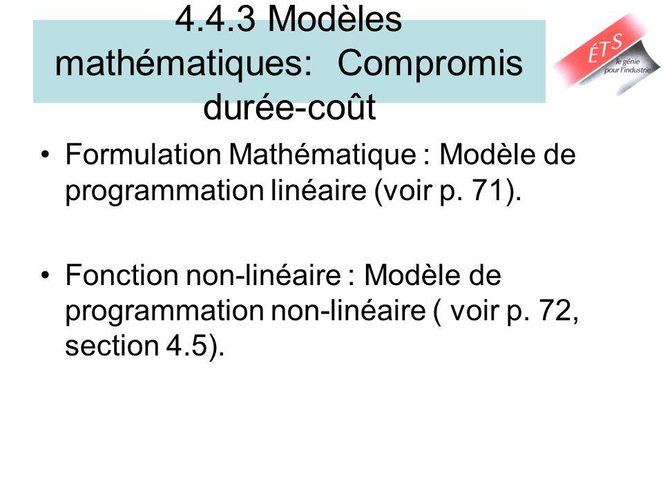 4.4.3 Modèles mathématiques: Compromis durée-coût
