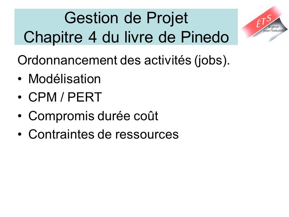 Gestion de Projet Chapitre 4 du livre de Pinedo