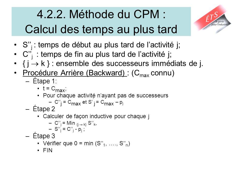 4.2.2. Méthode du CPM : Calcul des temps au plus tard
