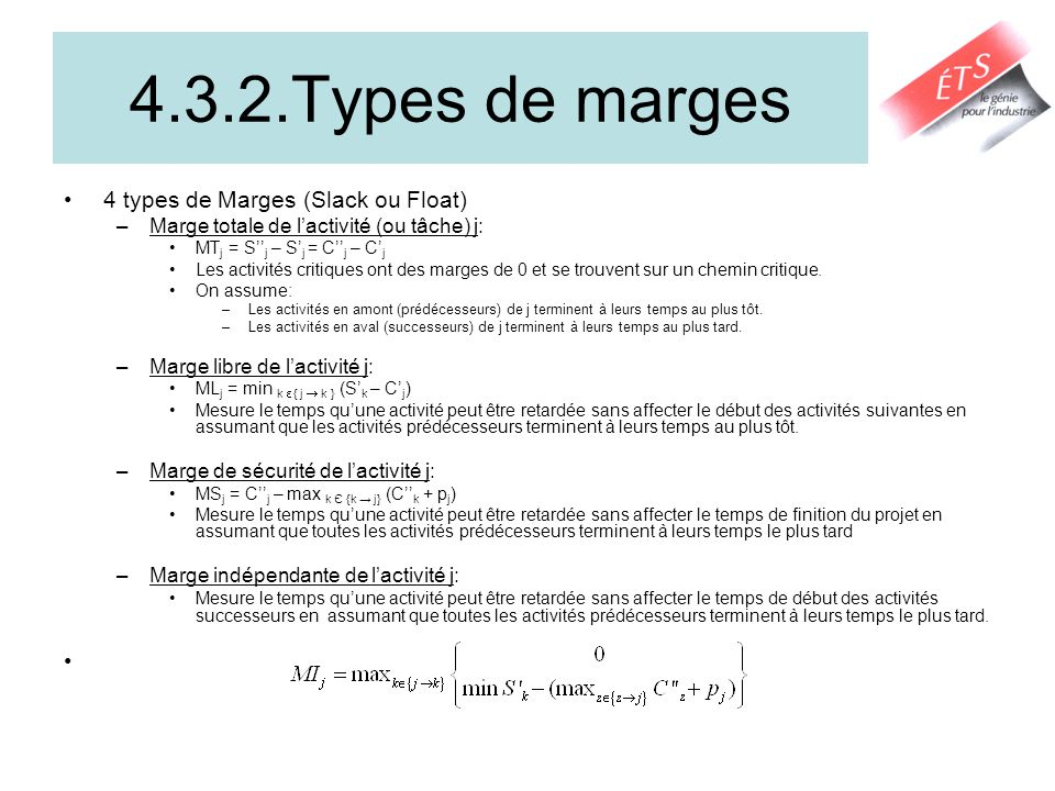 4.3.2.Types de marges 4 types de Marges (Slack ou Float)