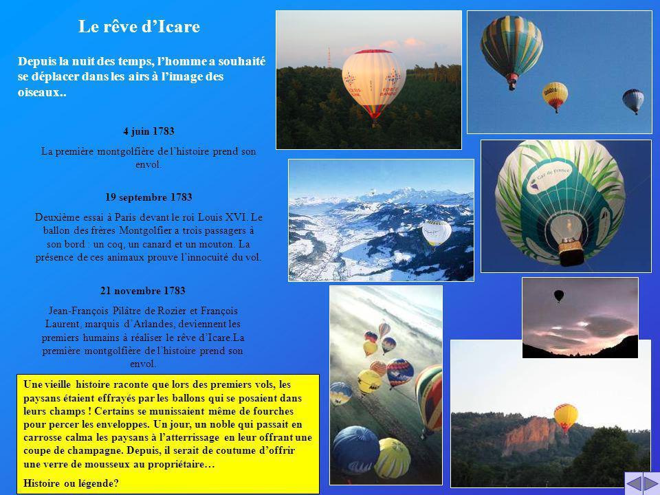 La première montgolfière de l'histoire prend son envol.
