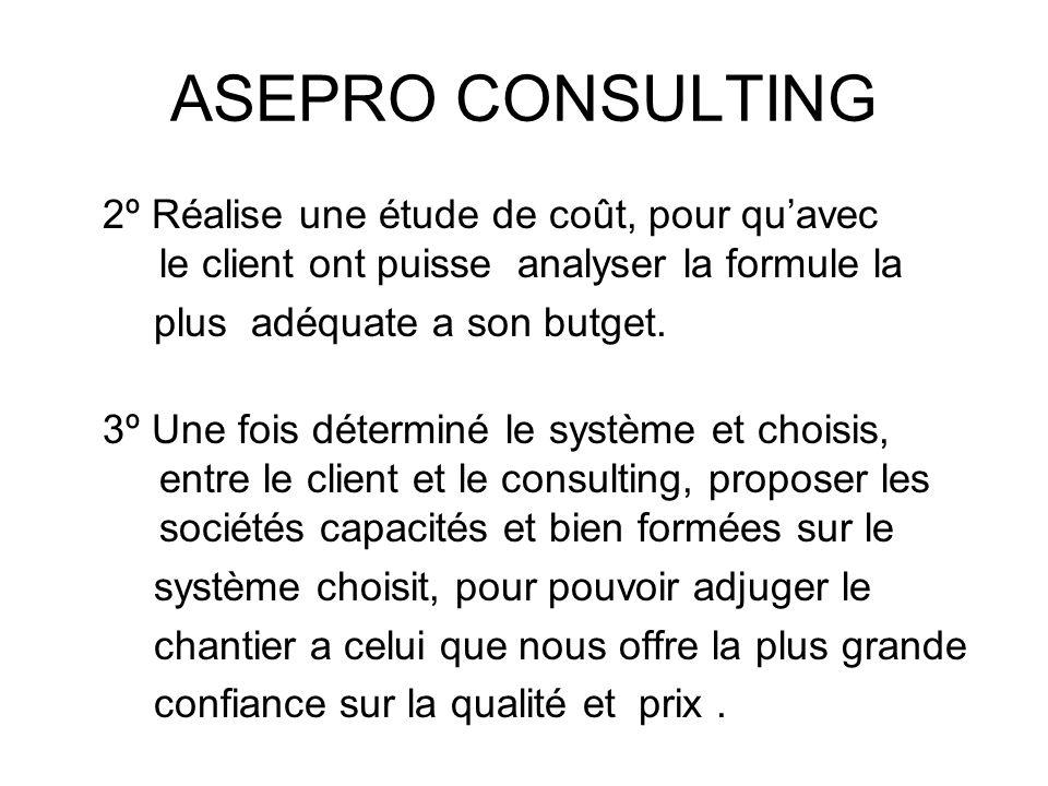 ASEPRO CONSULTING 2º Réalise une étude de coût, pour qu'avec le client ont puisse analyser la formule la.