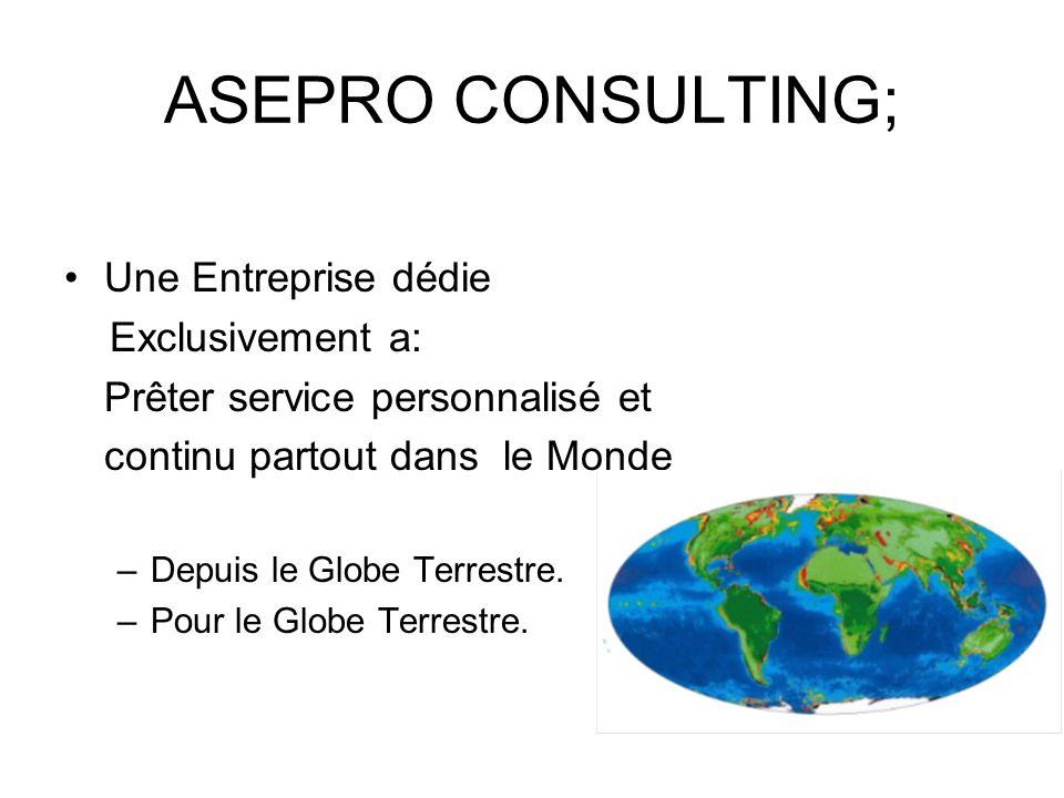 ASEPRO CONSULTING; Une Entreprise dédie Exclusivement a: