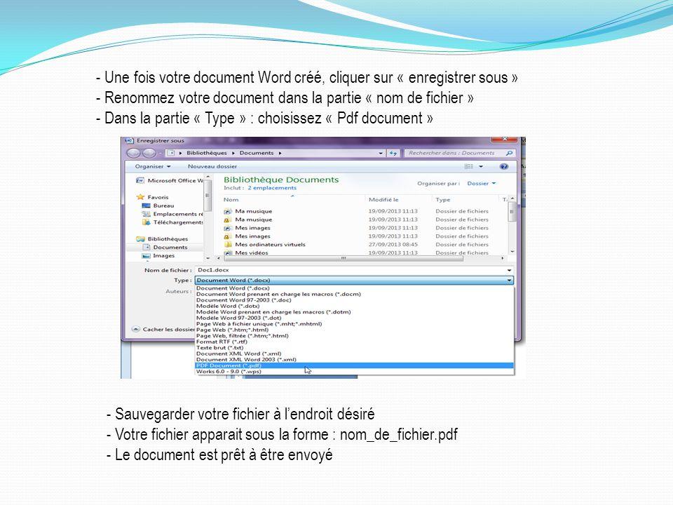 - Une fois votre document Word créé, cliquer sur « enregistrer sous »