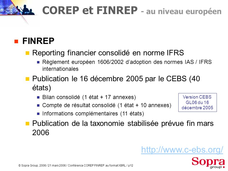 Version CEBS GL06 du 16 décembre 2005