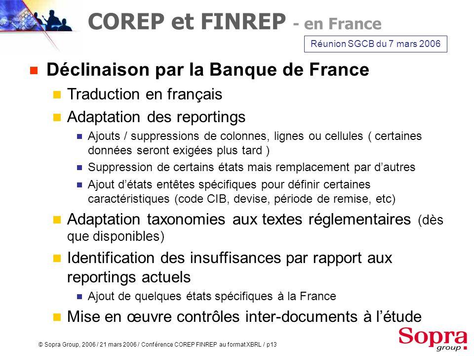 COREP et FINREP - en France