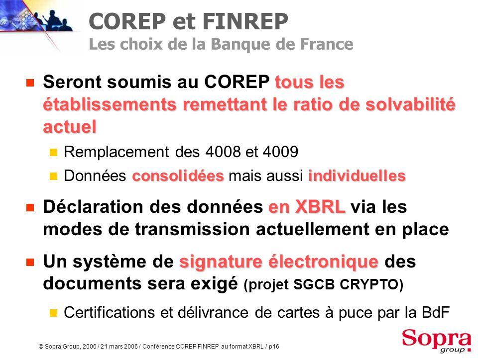 COREP et FINREP Les choix de la Banque de France