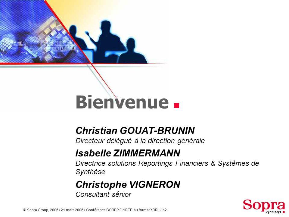 Bienvenue  Christian GOUAT-BRUNIN Directeur délégué à la direction générale.