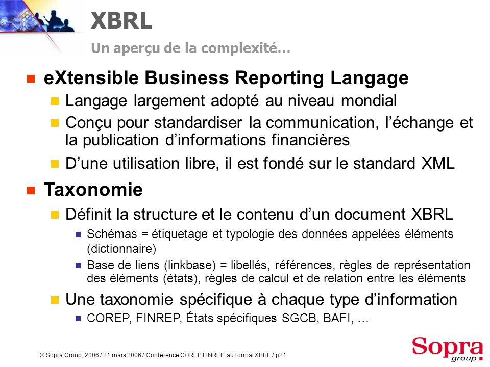 XBRL eXtensible Business Reporting Langage Taxonomie