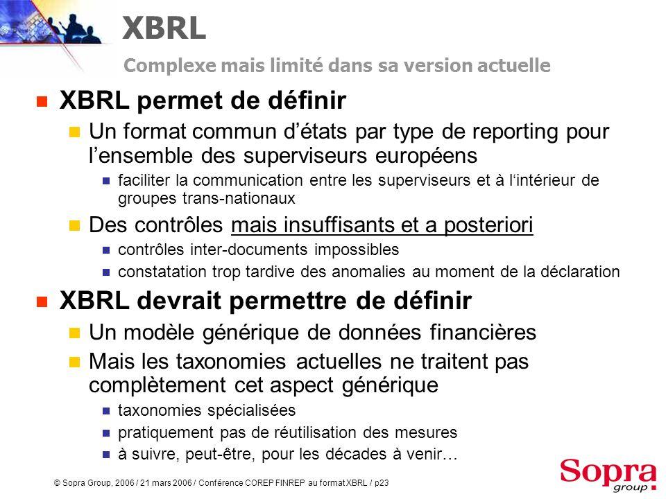 XBRL XBRL permet de définir XBRL devrait permettre de définir