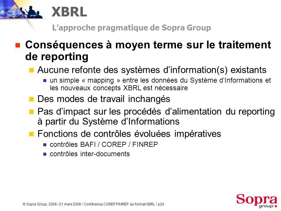 XBRL Conséquences à moyen terme sur le traitement de reporting