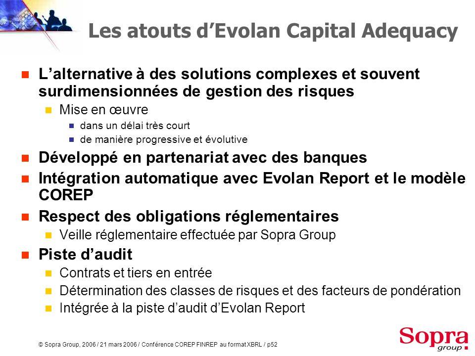 Les atouts d'Evolan Capital Adequacy