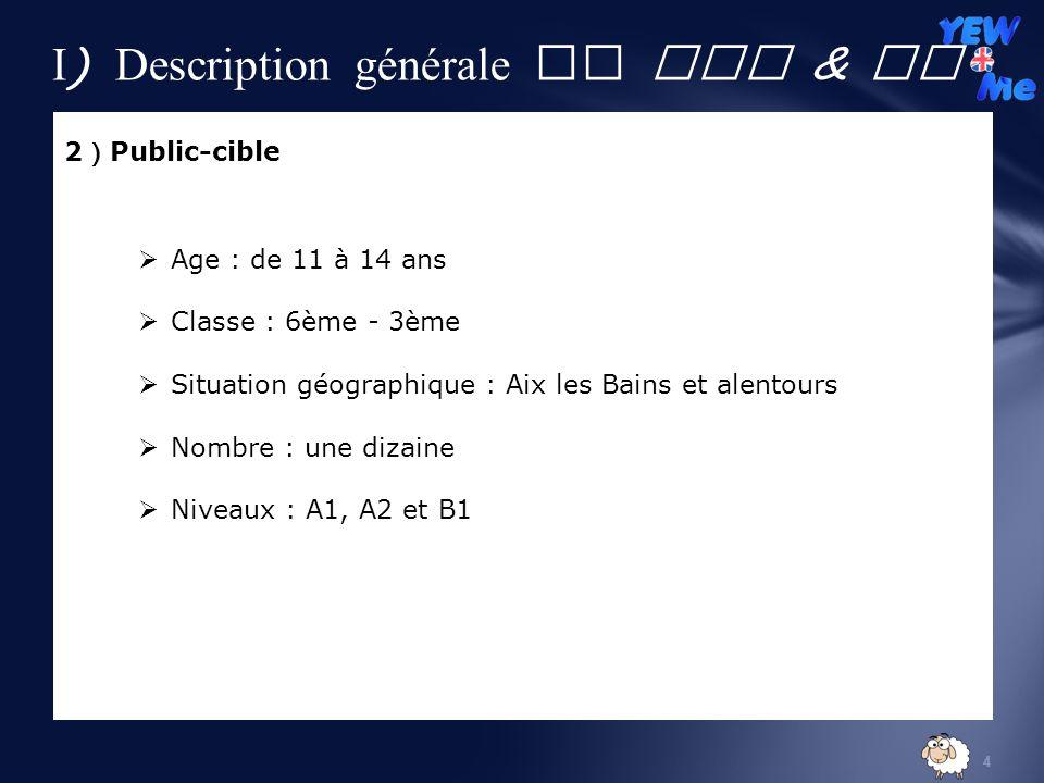 I) Description générale de YEW & Me