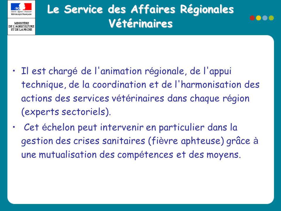 Le Service des Affaires Régionales Vétérinaires