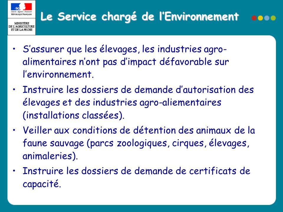 Le Service chargé de l'Environnement