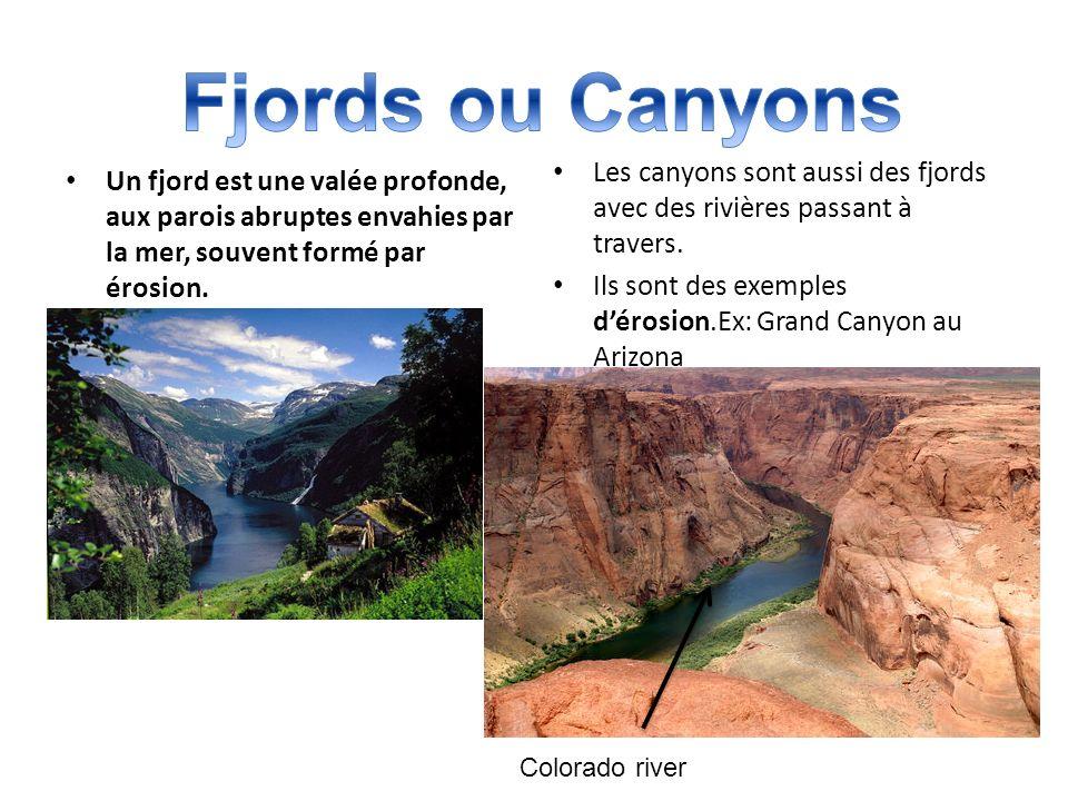 Fjords ou Canyons Les canyons sont aussi des fjords avec des rivières passant à travers. Ils sont des exemples d'érosion.Ex: Grand Canyon au Arizona.