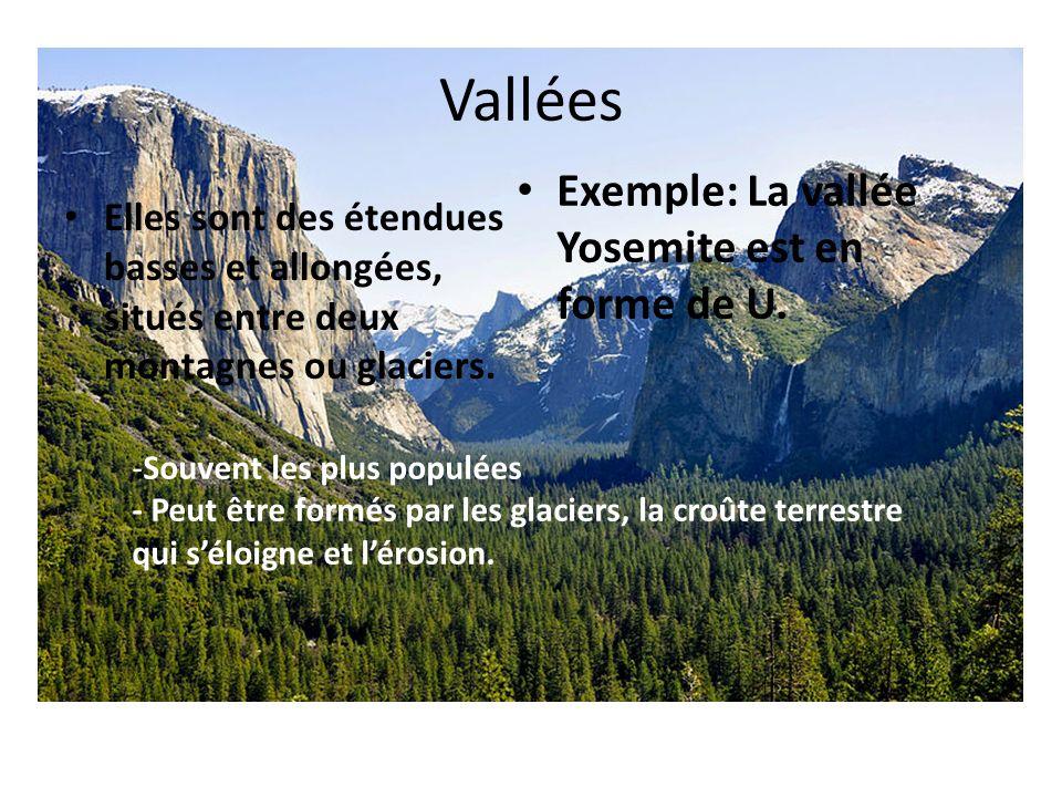 Vallées Exemple: La vallée Yosemite est en forme de U.