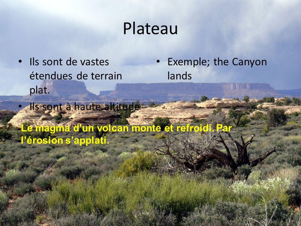 Plateau Ils sont de vastes étendues de terrain plat.