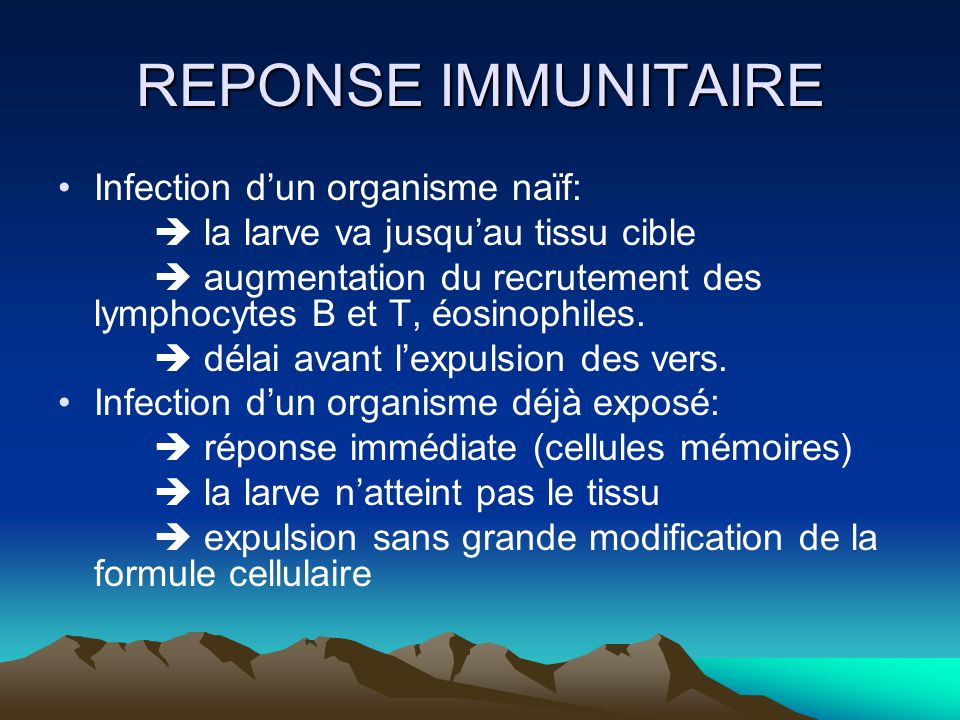 REPONSE IMMUNITAIRE Infection d'un organisme naïf: