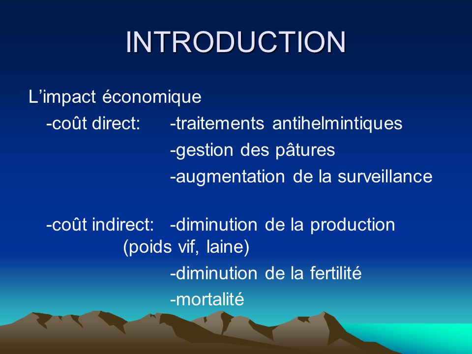 INTRODUCTION L'impact économique