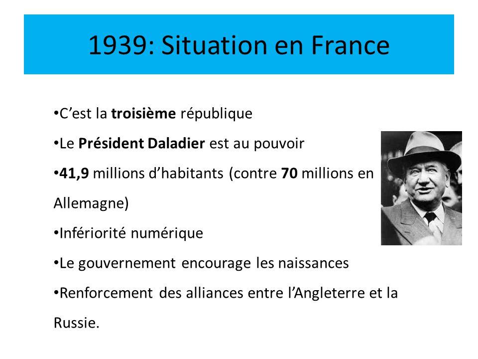 1939: Situation en France C'est la troisième république