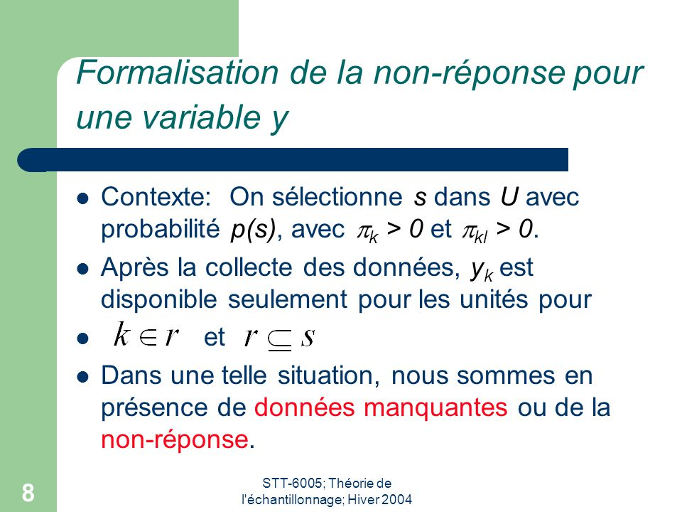 Formalisation de la non-réponse pour une variable y