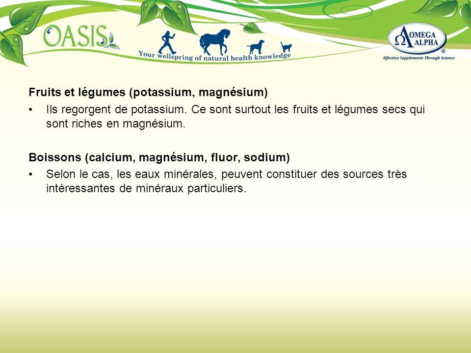 Fruits et légumes (potassium, magnésium)