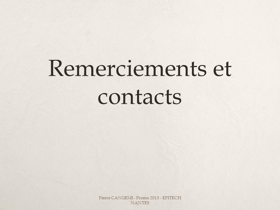 Remerciements et contacts