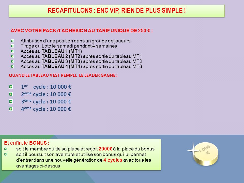 RECAPITULONS : ENC VIP, RIEN DE PLUS SIMPLE !