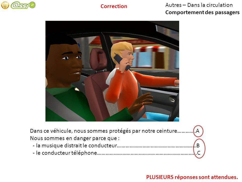 Correction Correction. Autres – Dans la circulation. Comportement des passagers. Dans ce véhicule, nous sommes protégés par notre ceinture………….A.