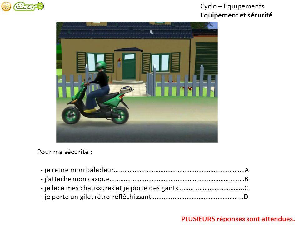 Cyclo – Equipements Equipement et sécurité. Pour ma sécurité : - je retire mon baladeur…………………………………………………….……………A.