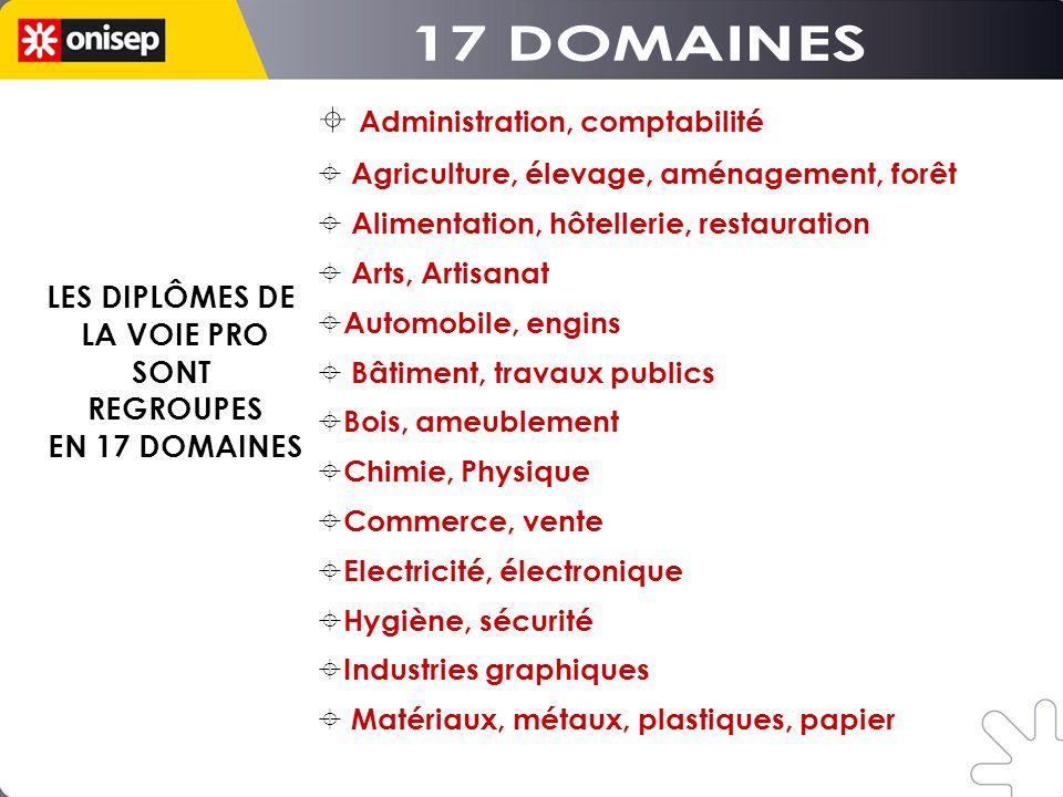 17 DOMAINES Administration, comptabilité LES DIPLÔMES DE LA VOIE PRO