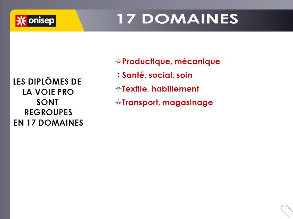 17 DOMAINES LES DIPLÔMES DE LA VOIE PRO SONT REGROUPES EN 17 DOMAINES