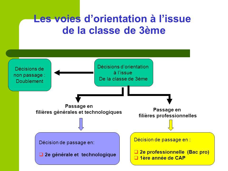 Les voies d'orientation à l'issue de la classe de 3ème