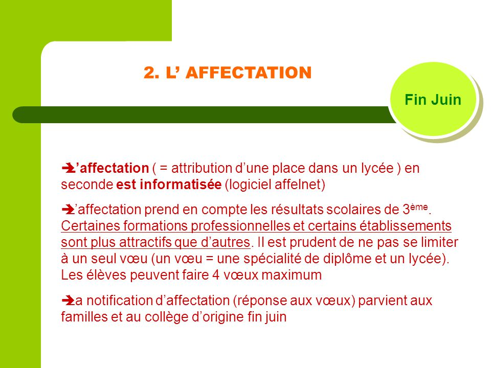 2. L' AFFECTATION Fin Juin