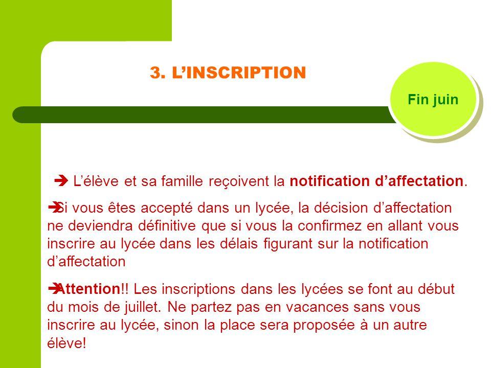 3. L'INSCRIPTION Fin juin.  L'élève et sa famille reçoivent la notification d'affectation.