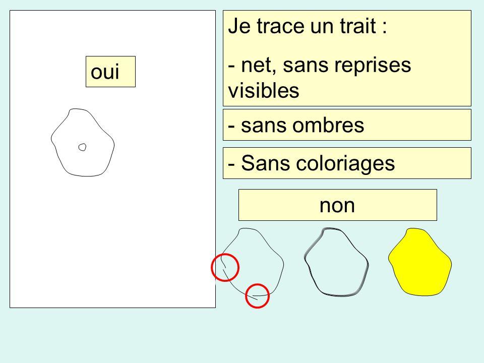 Je trace un trait : - net, sans reprises visibles oui - sans ombres - Sans coloriages non
