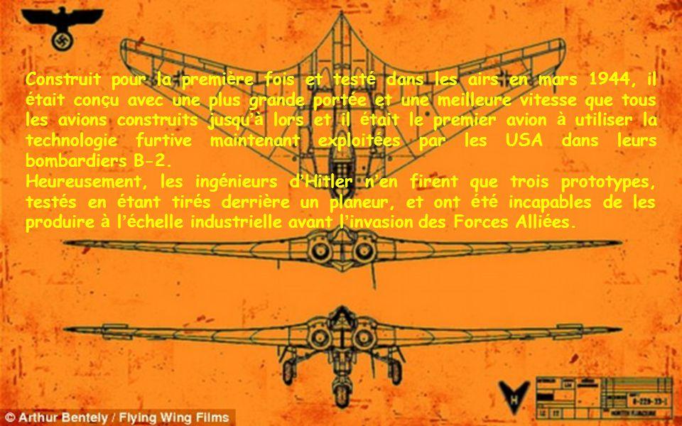 Construit pour la première fois et testé dans les airs en mars 1944, il était conçu avec une plus grande portée et une meilleure vitesse que tous les avions construits jusqu'à lors et il était le premier avion à utiliser la technologie furtive maintenant exploitées par les USA dans leurs bombardiers B-2.