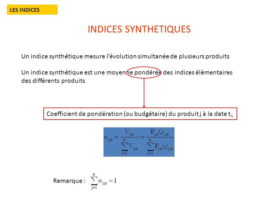 LES INDICES INDICES SYNTHETIQUES. Un indice synthétique mesure l'évolution simultanée de plusieurs produits.