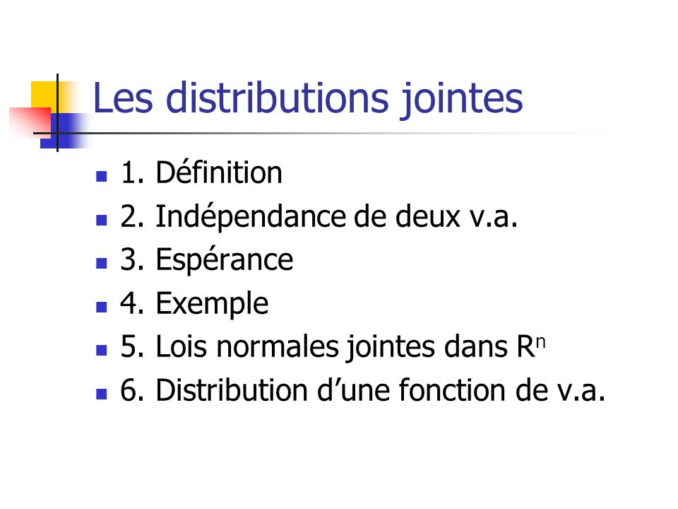 Les distributions jointes