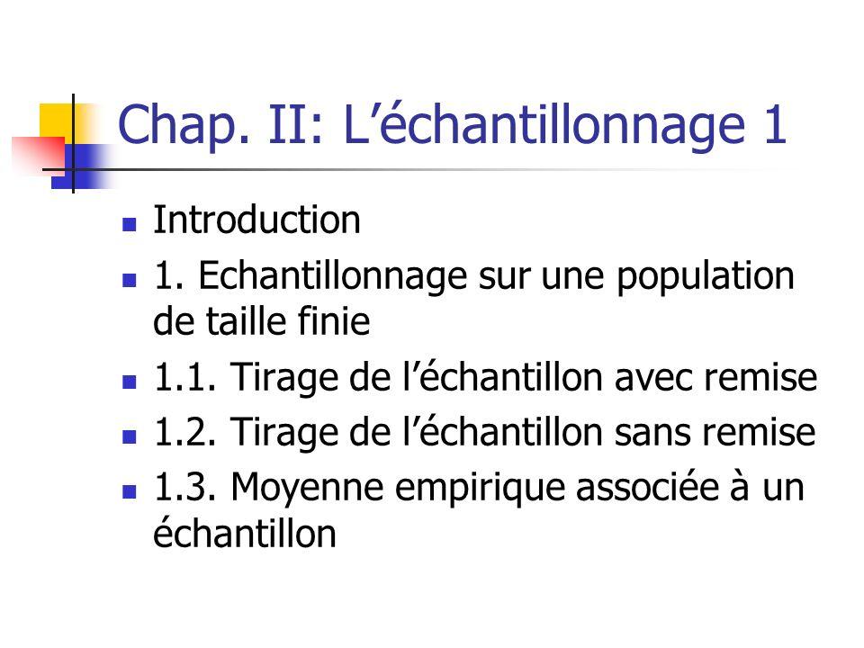 Chap. II: L'échantillonnage 1