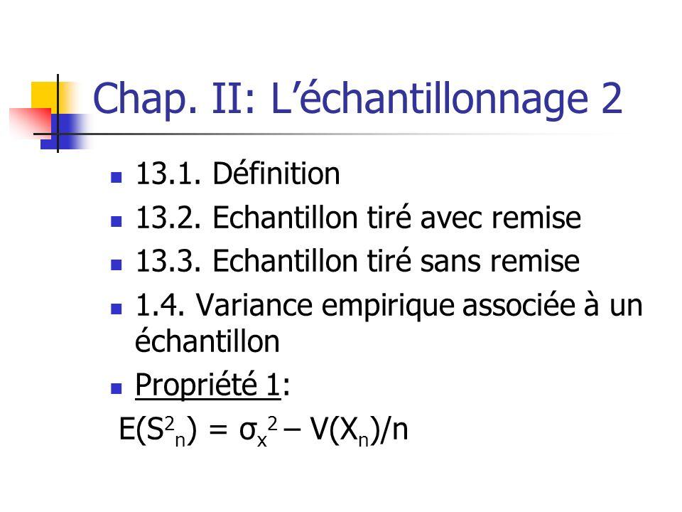 Chap. II: L'échantillonnage 2