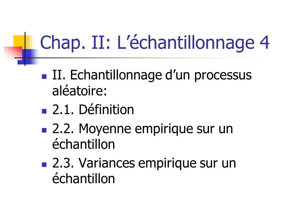 Chap. II: L'échantillonnage 4