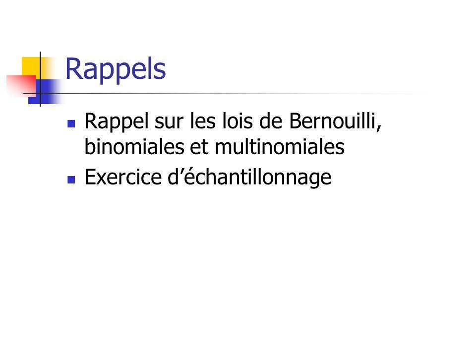 Rappels Rappel sur les lois de Bernouilli, binomiales et multinomiales