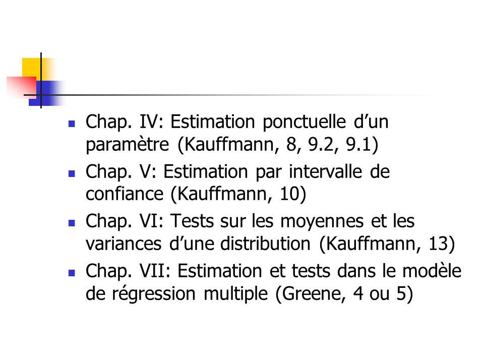 Chap. IV: Estimation ponctuelle d'un paramètre (Kauffmann, 8, 9. 2, 9