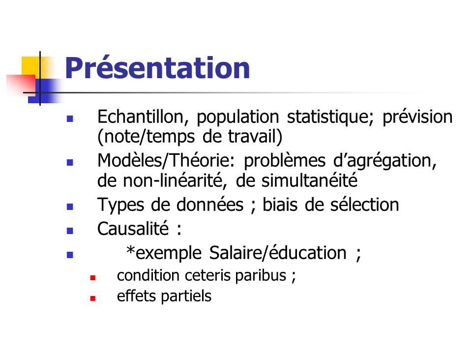 Présentation Echantillon, population statistique; prévision (note/temps de travail)