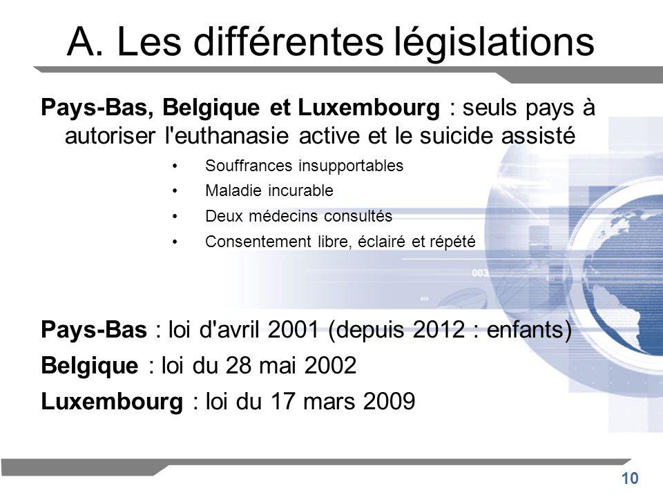 A. Les différentes législations