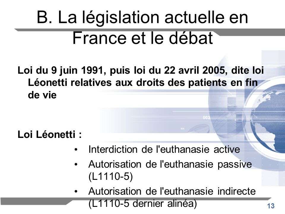 B. La législation actuelle en France et le débat